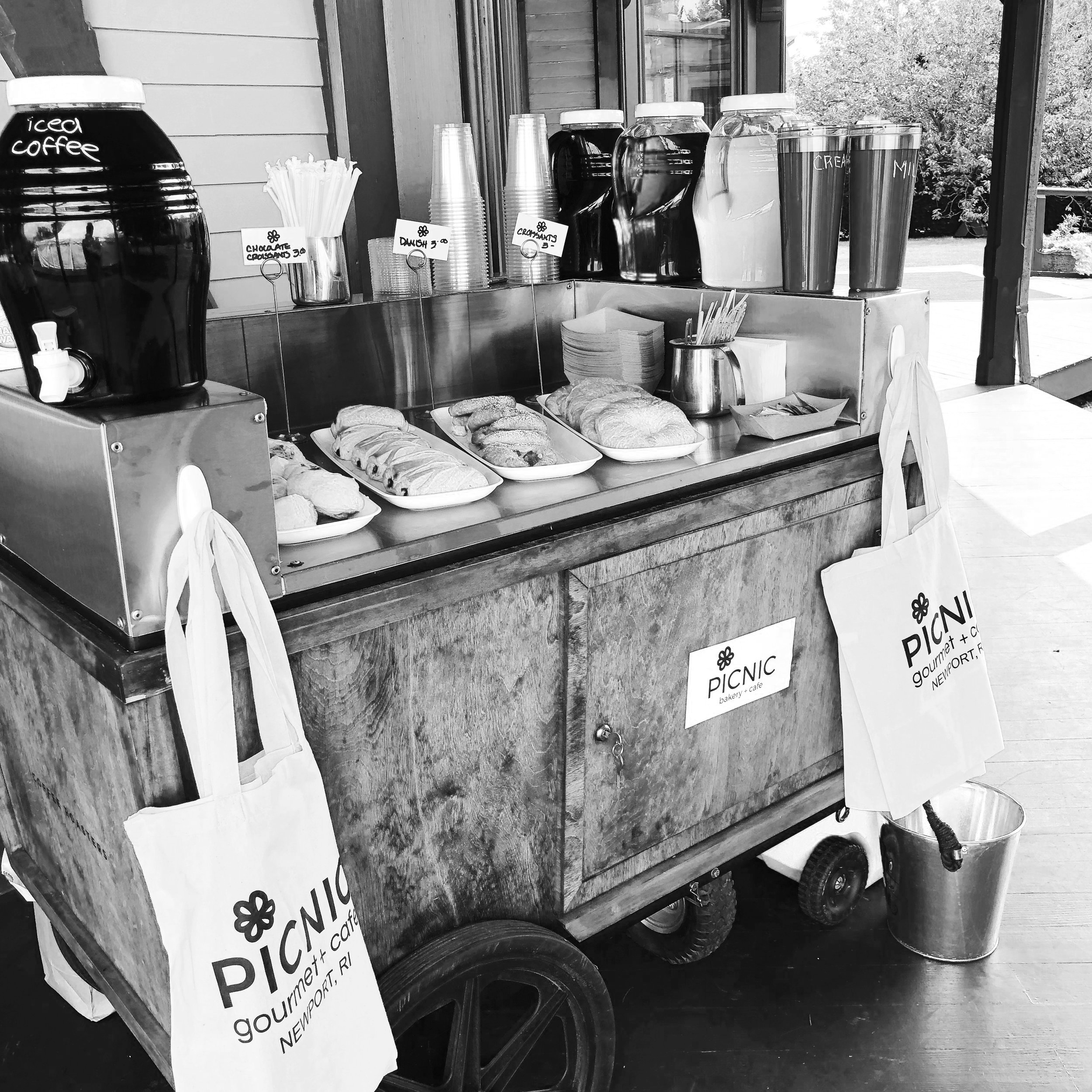 Our Food Cart - This little guy is an event favorite! Our food cart is a catering cart that we have outfitted to best serve as a food and drink station for on-site events. Stylish, charming and always a crowd pleaser.