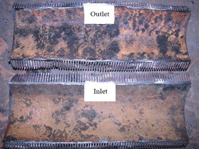 Corrosion is evident on all internal surfaces of the tubes, with more severe corrosion shown in the outlet segment. Image couresty of Oil and GAs Journal, www.ogj.com.