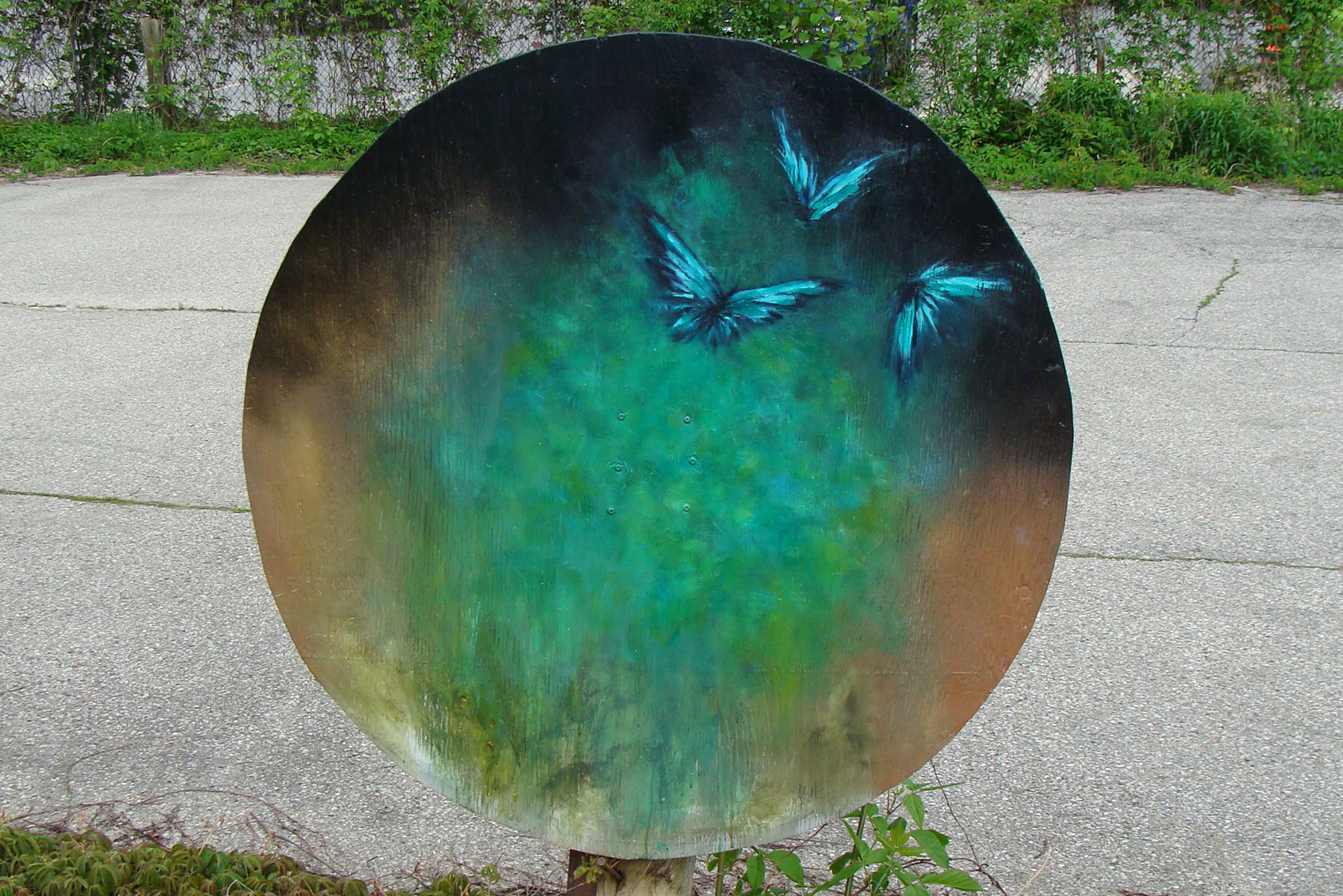 "'we travel through the night' - oil and spray enamel on weathered board, 37"" diameter, 2019"