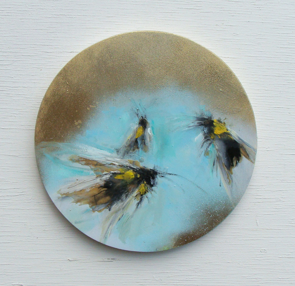 blue skies, oil,wax, metallic gold on panel, 12in diameter 2019