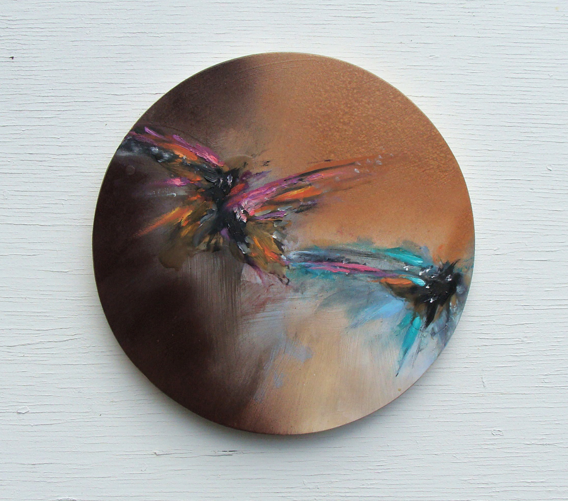 at dusk, oil,wax, metallic copper on panel, 12in diameter, 2019