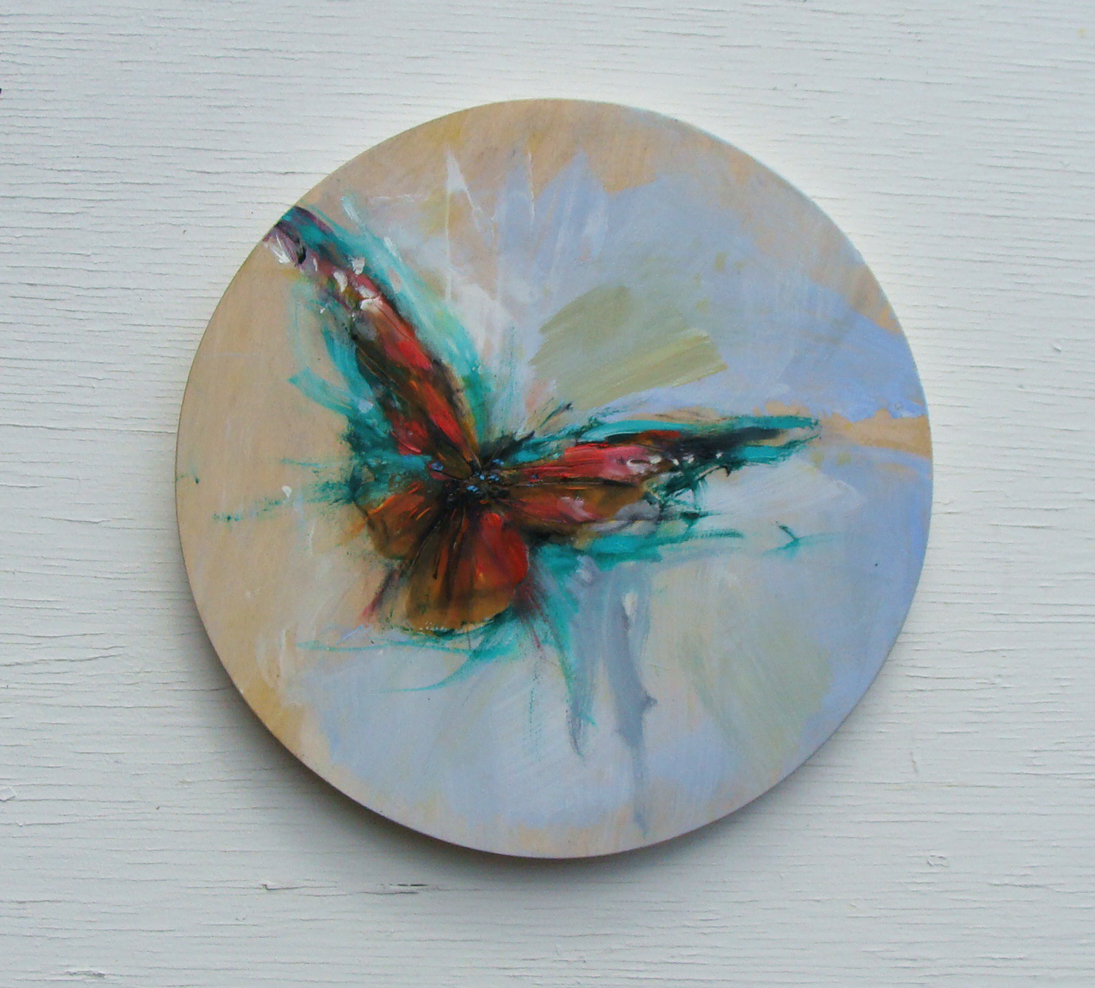 emerald elegance, oil, wax on panel, 1 in diameter, 2019