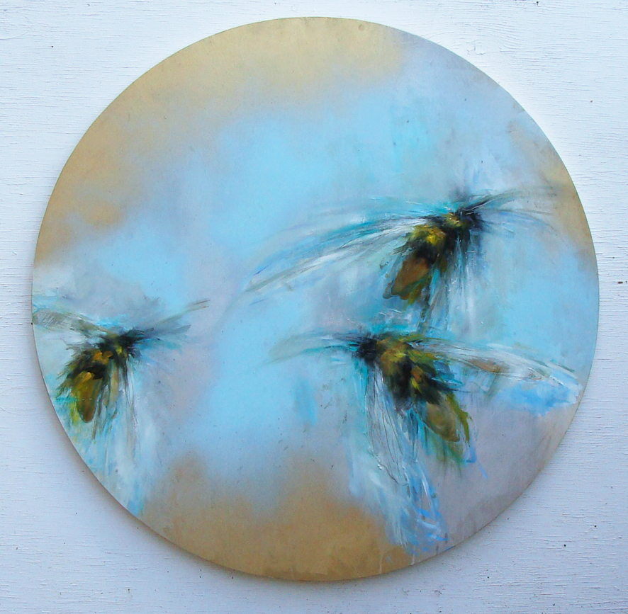 in the blue, oil,wax, metallic gold on panel, 36 in diameter, 2019