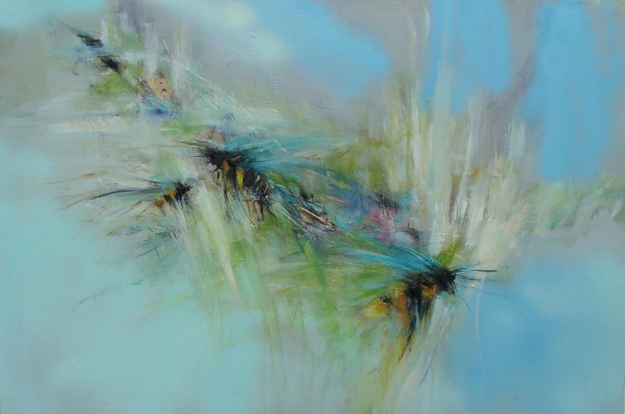 """'when lightning strikes' - oil, wax, spray paint on panel, 24x36"""", 2019"""