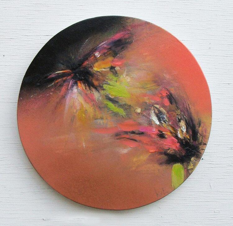 """'autumn lurking' - oil, wax, spray paint on panel, 12"""" diameter, 2019  SOLD"""