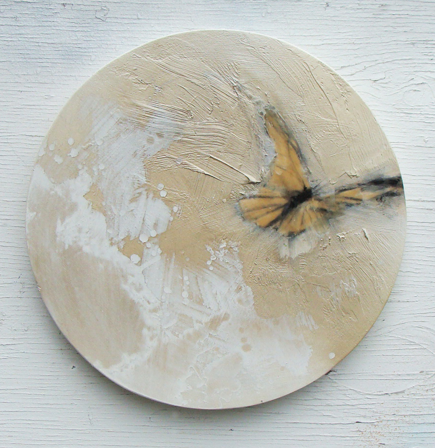 """the moon knows - mixed media and wax on panel, 12"""" diameter  SOLD"""