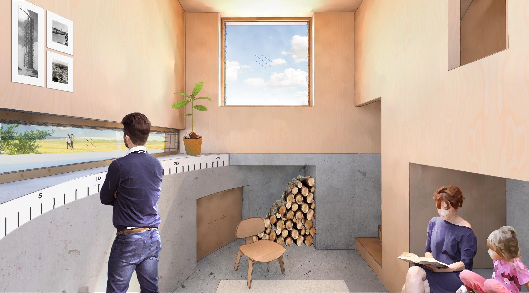 Impressie van de woonkamer met een laag raam dat over de bunker heen kijkt