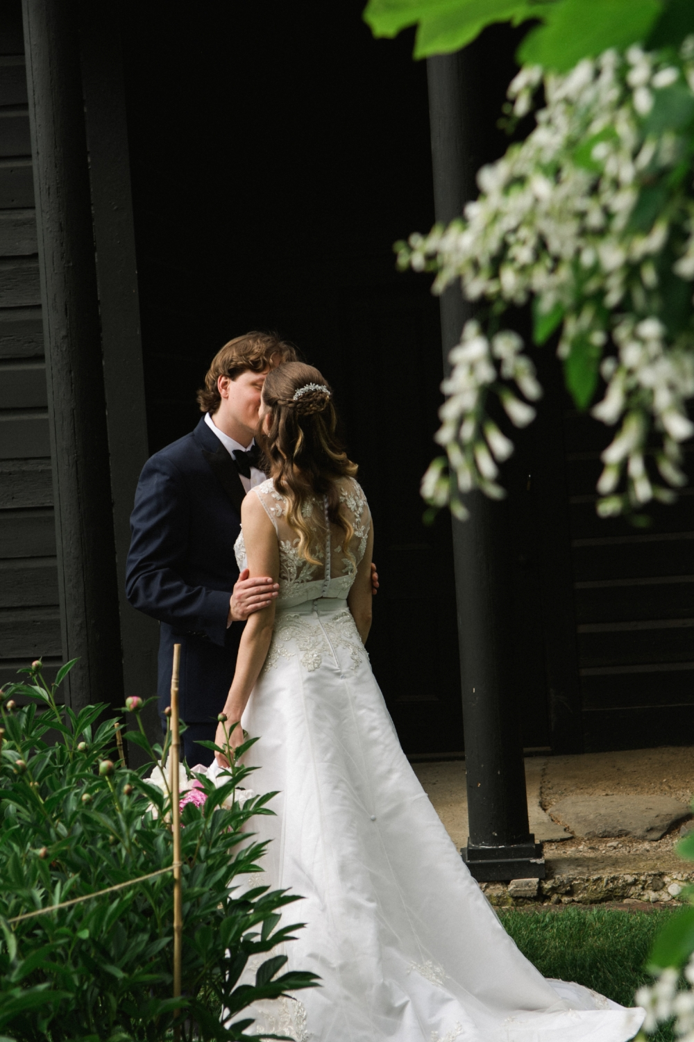 bride and groom portrait in garden