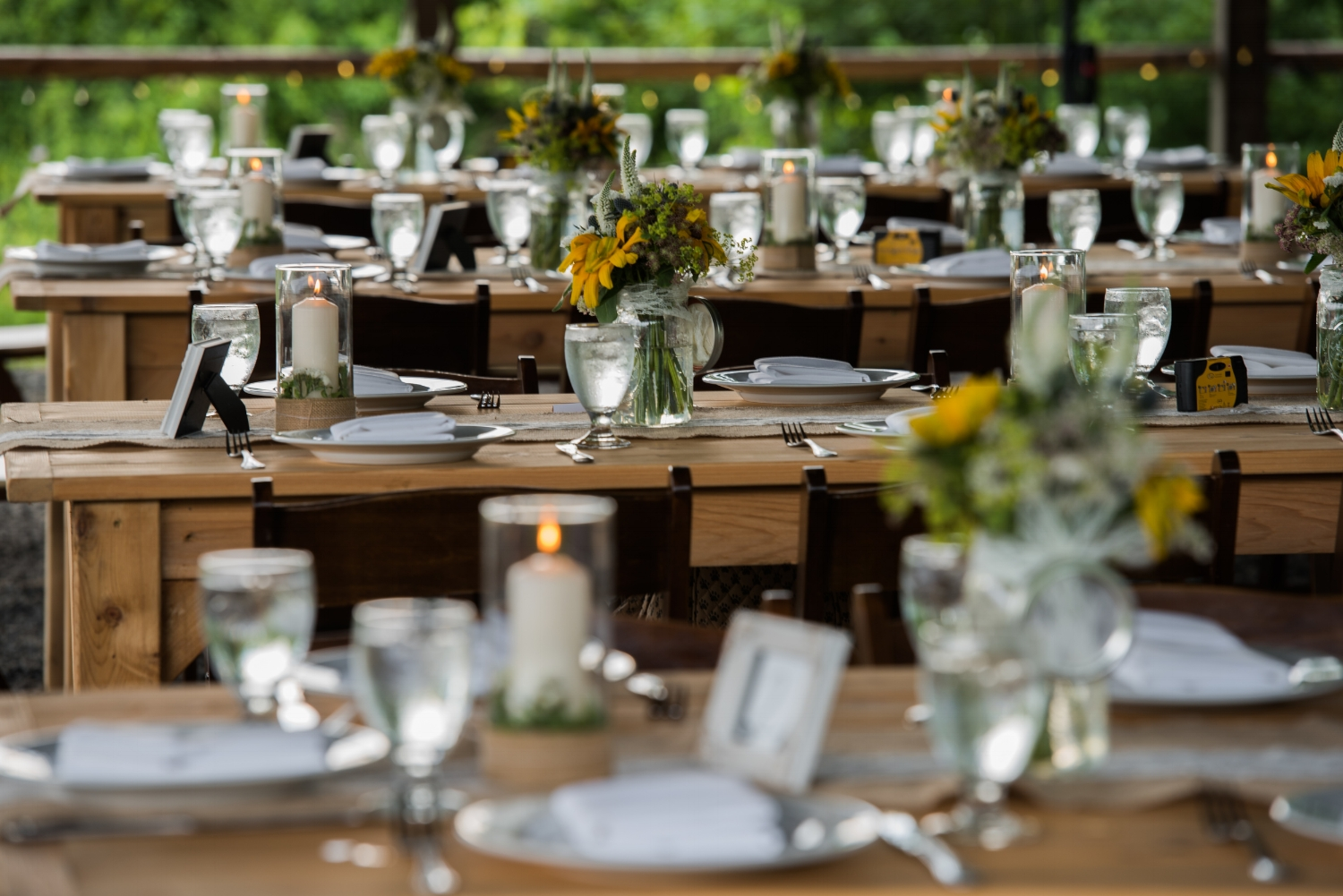 rustic reception dinner table