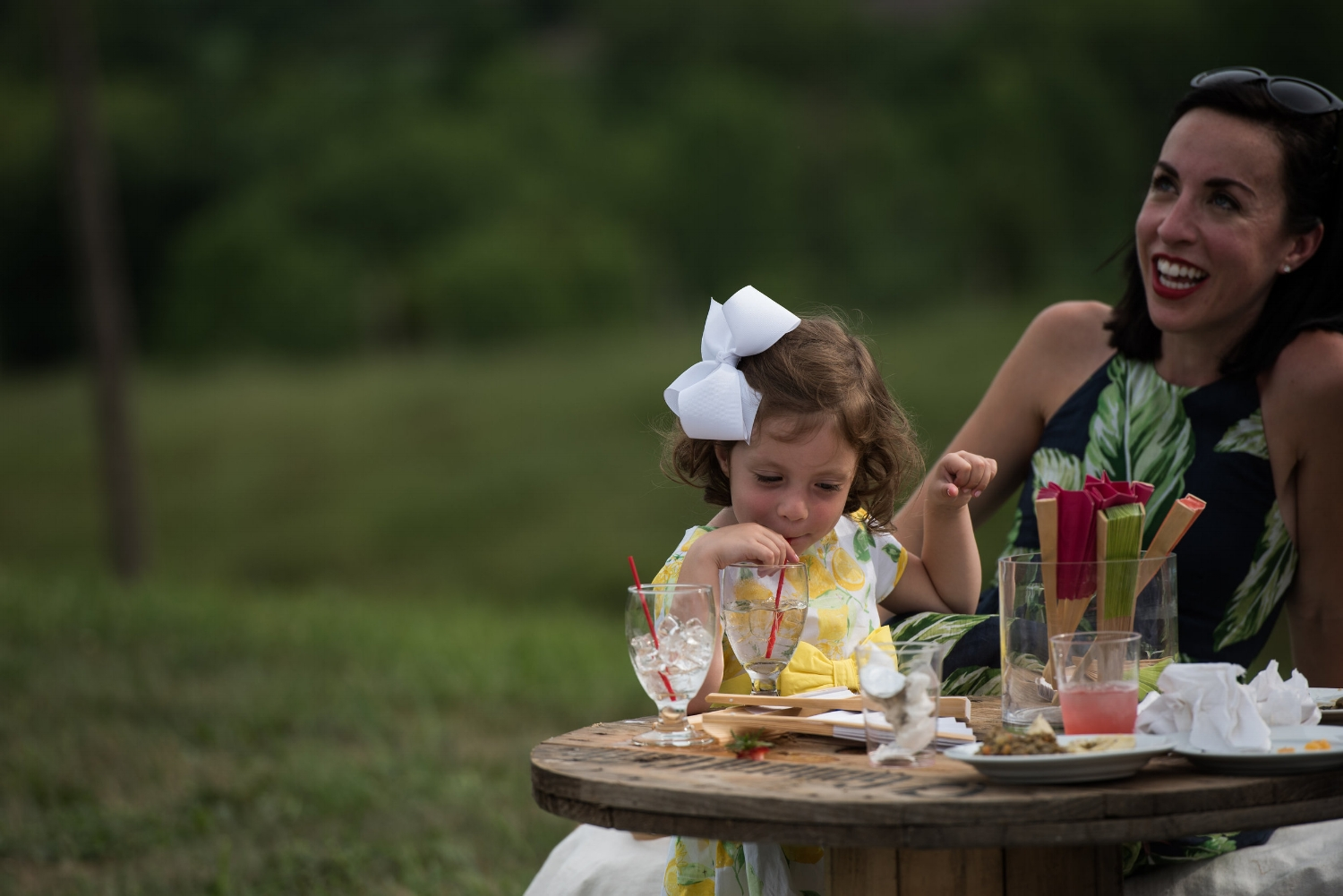 cocktail party with flower girl
