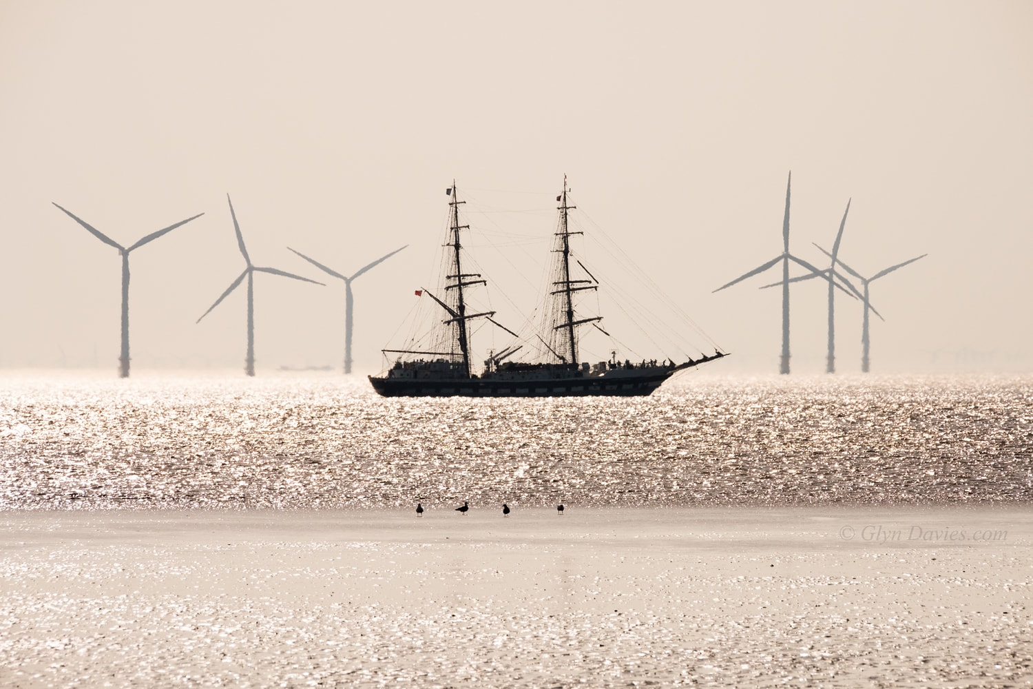 """Windless Motion"" - Distorted by heat haze, a tall ship passes an offshore wind-farm off Crosby Beach, Liverpool -  Fujifilm X-Pro2"