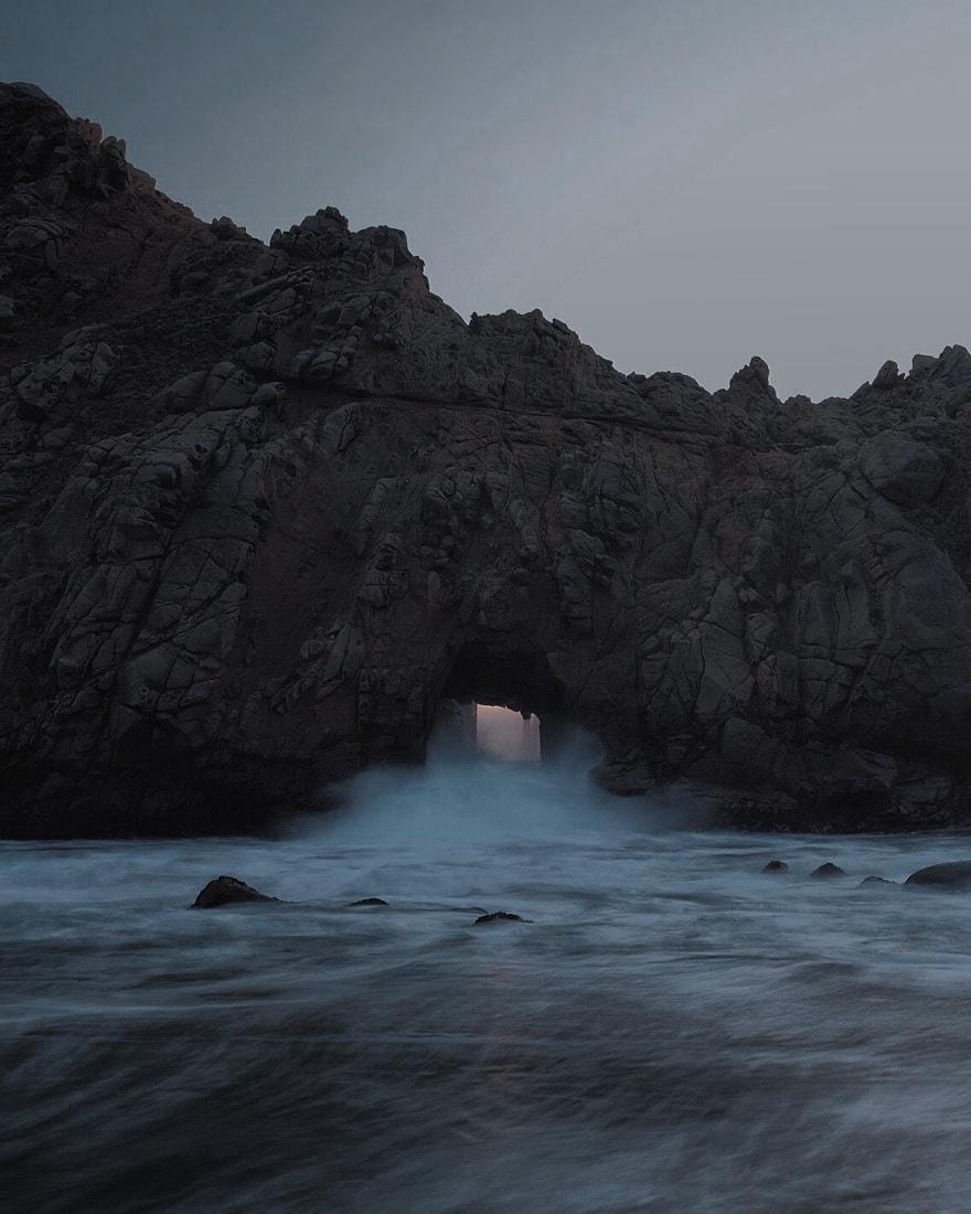 Keyhole Arch in Pfeiffer Beach, Big Sur, CA -  Fujifilm XT-1  &  XF-23mm F1.4
