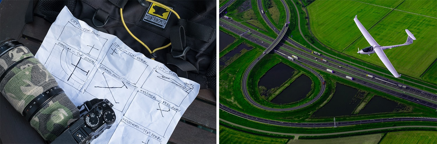 Left: It's always good to go up in the air with a plan. - Right: A Dutch motorway junction makes for an interesting background.