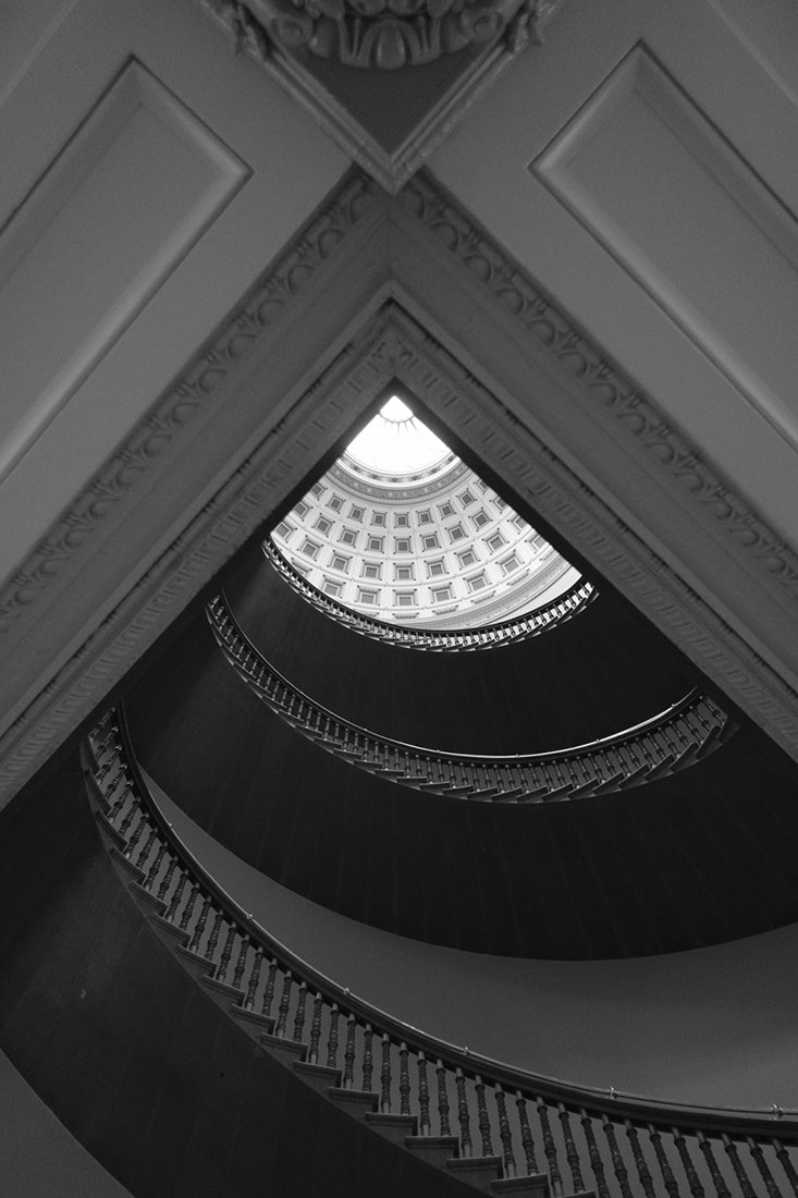 One of the stairways in the Eisenhower Executive Office Building, adjacent to the White House. Constructed between 1871 and 1888, the building provides offices for much of the White House Staff. (Official White House Photo by Chuck Kennedy).