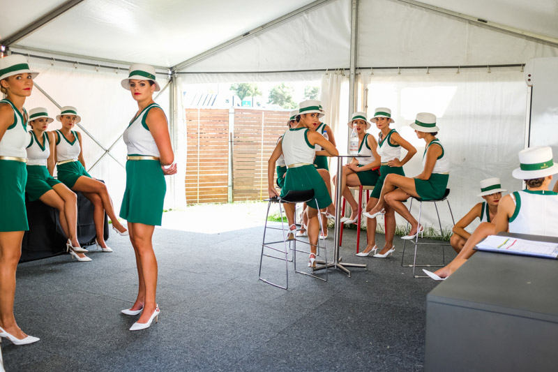 Grid girls relaxing in a tent before the drivers parade on Sunday during the 2017 Rolex Australian Formula 1 Grand Prix. Albert Park circuit in Melbourne, Australia March 26th 2017.