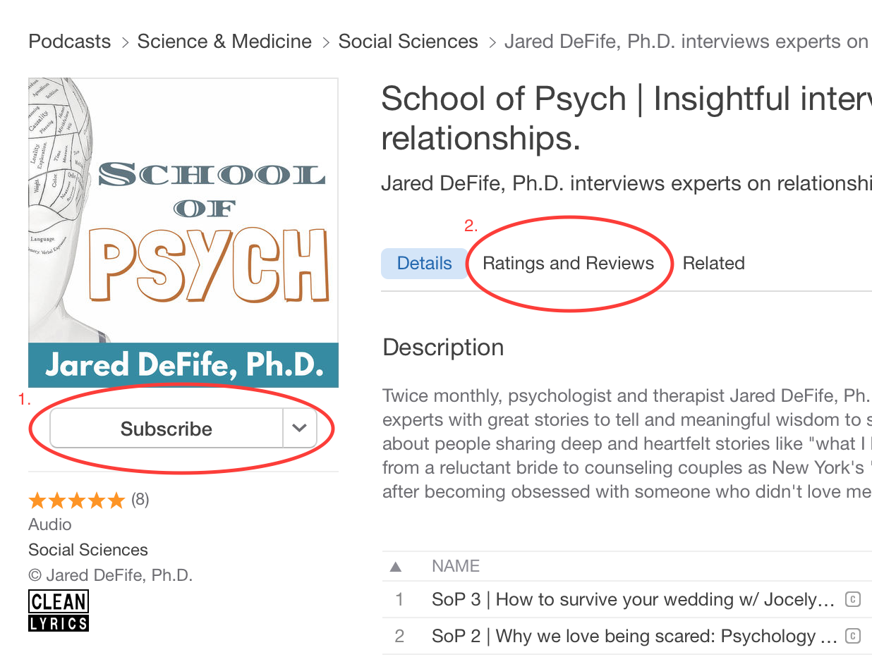 How to subscribe to a podcast on iTunes | School of Psych podcast | Jared DeFife | psychology podcast