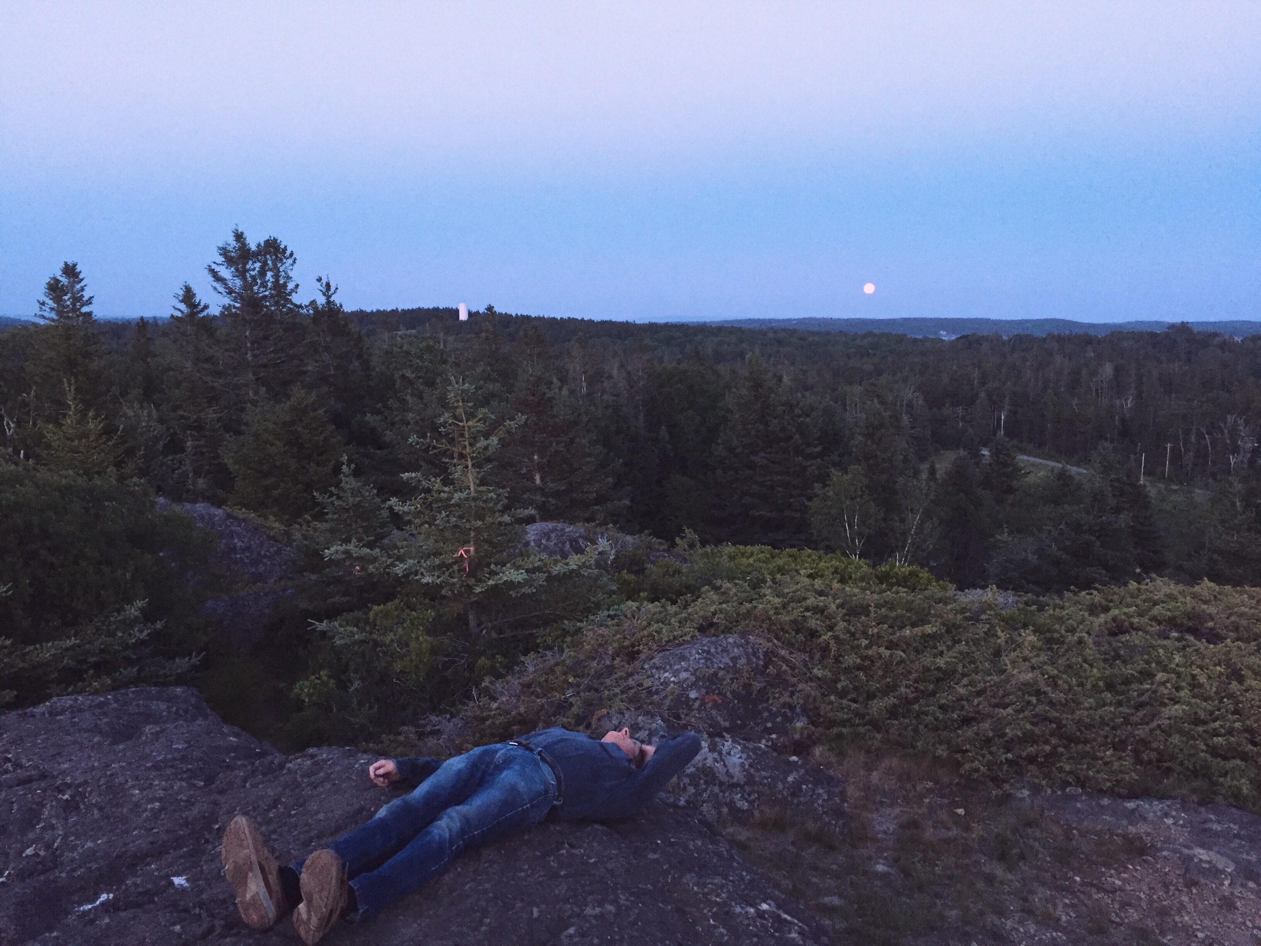 Local Eric Hopkins demonstrating how to feel like a spaceman while watching the strawberry moon rise on the solsctice