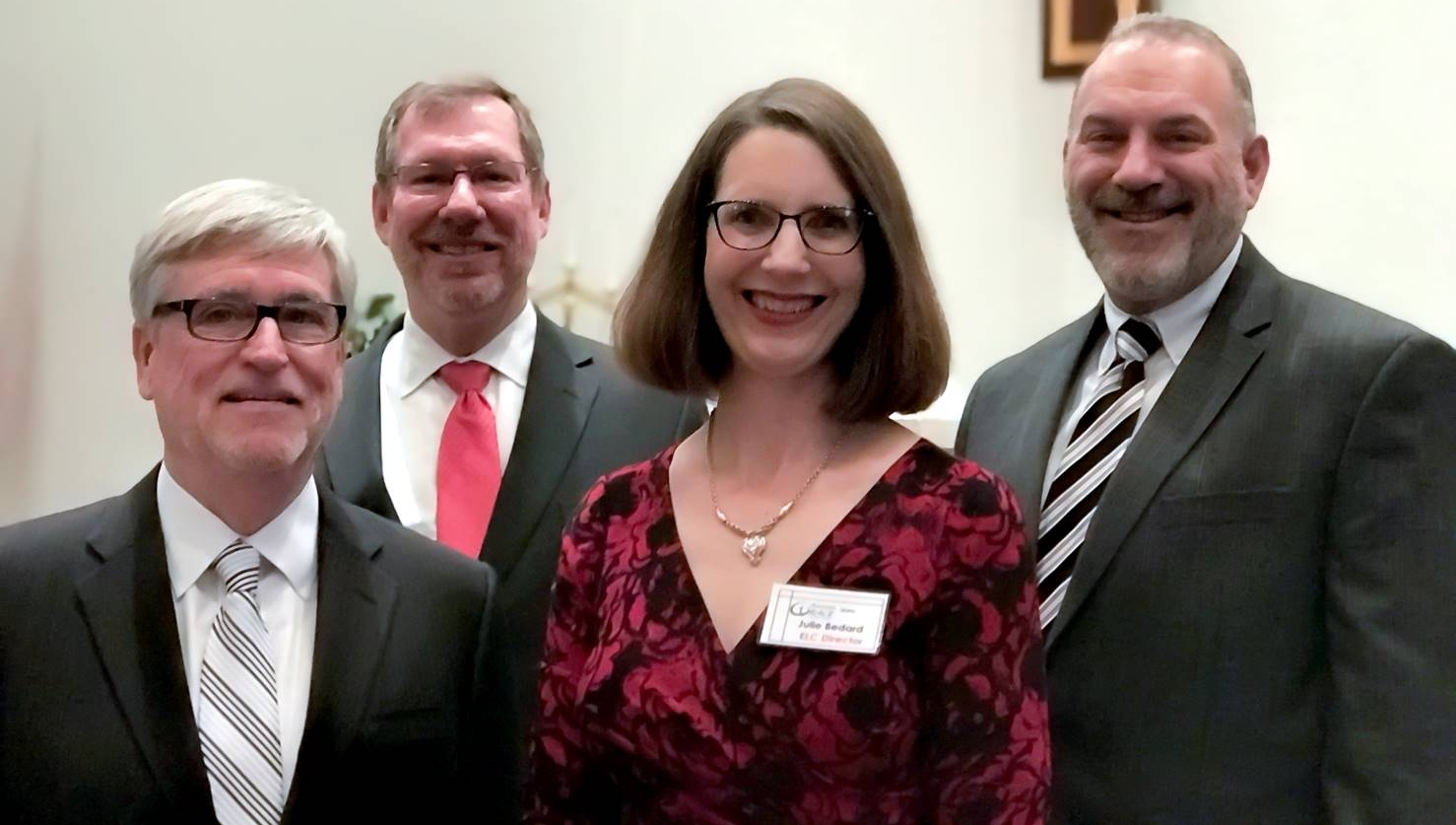 From left to right: Mark Brink-Executive Director of School Ministries & Youth Ministry; James Rockey-Pastor of Amazing Grace Lutheran Church ; Julie Bedard-Director of Early Learning Center and Greg Walton-President of the Florida-Georgia District, Lutheran Church-Missouri Synod.