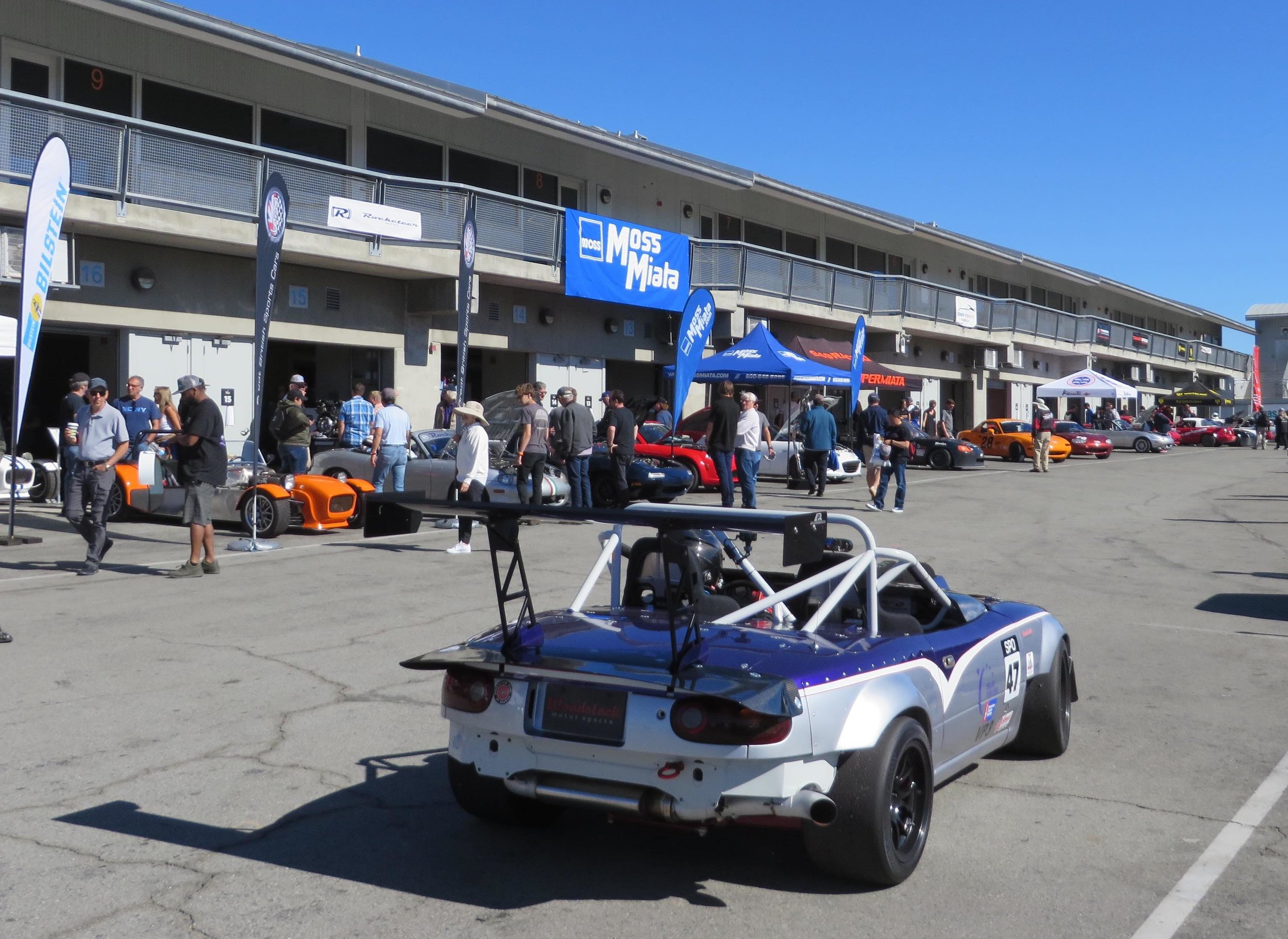 Making a pass by vendors alley. All tuned up and ready for the track.