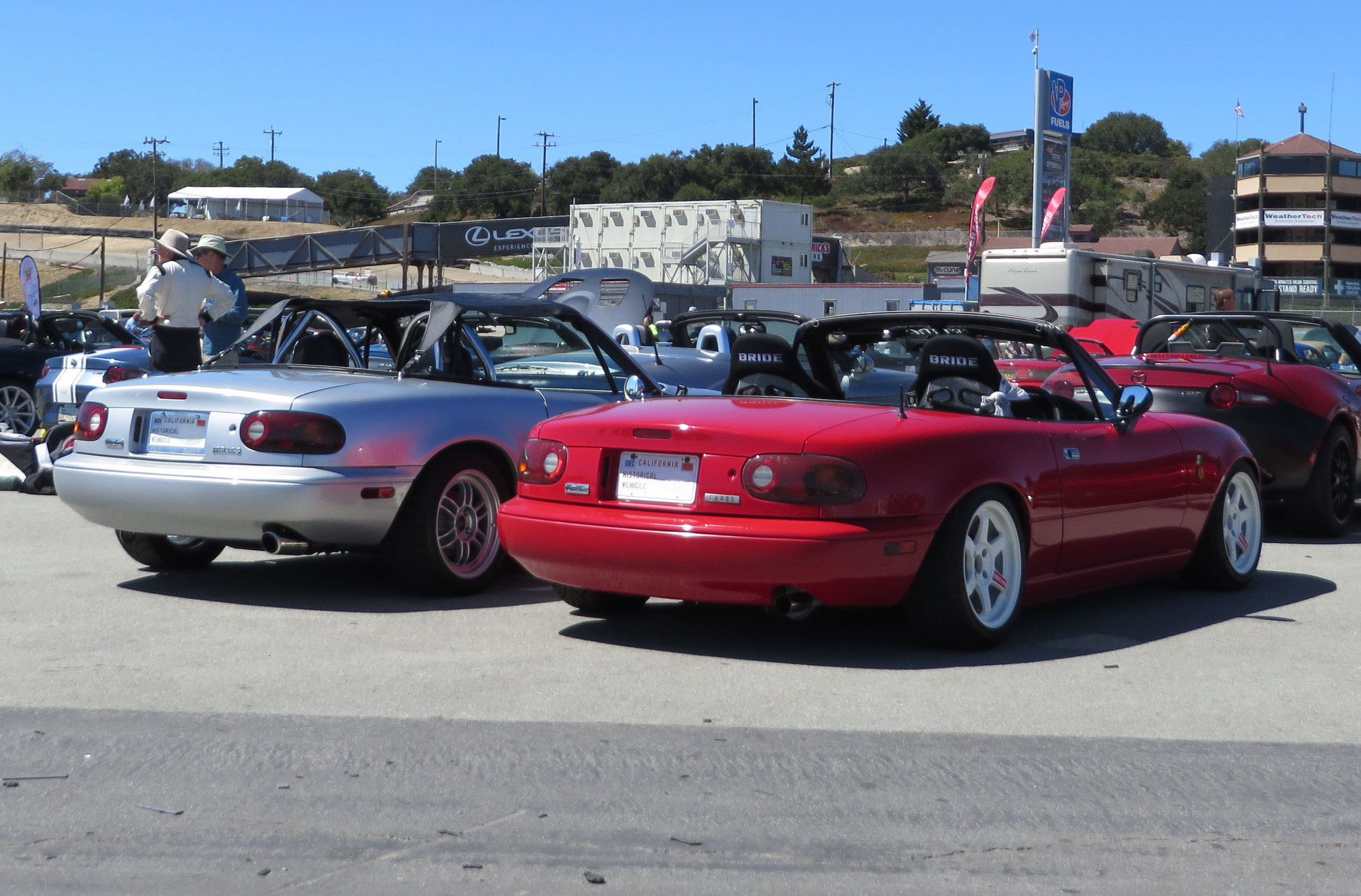 Historical MX-5s on display in the paddock.
