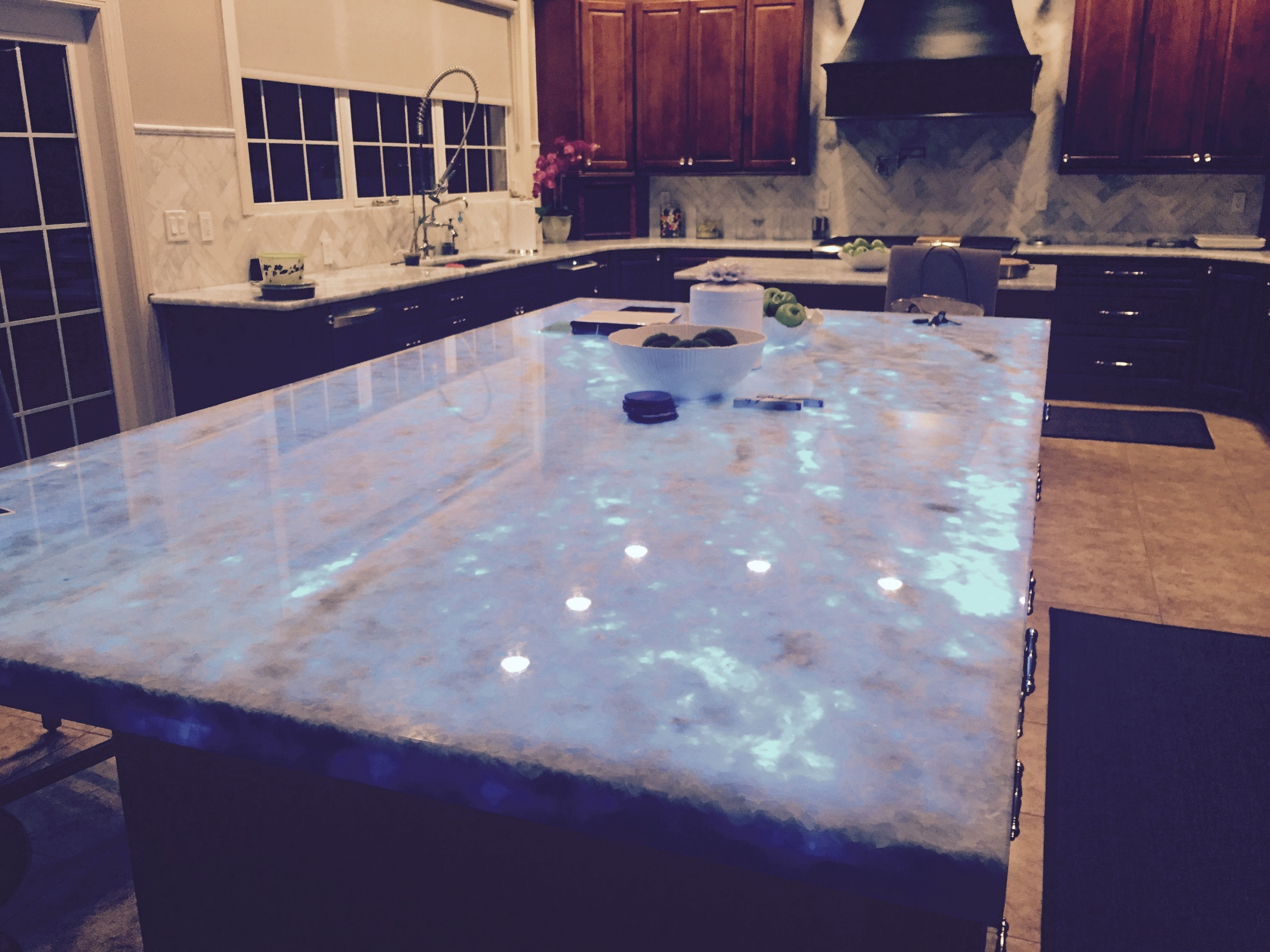 LED Backlit Kitchen Island Countertop