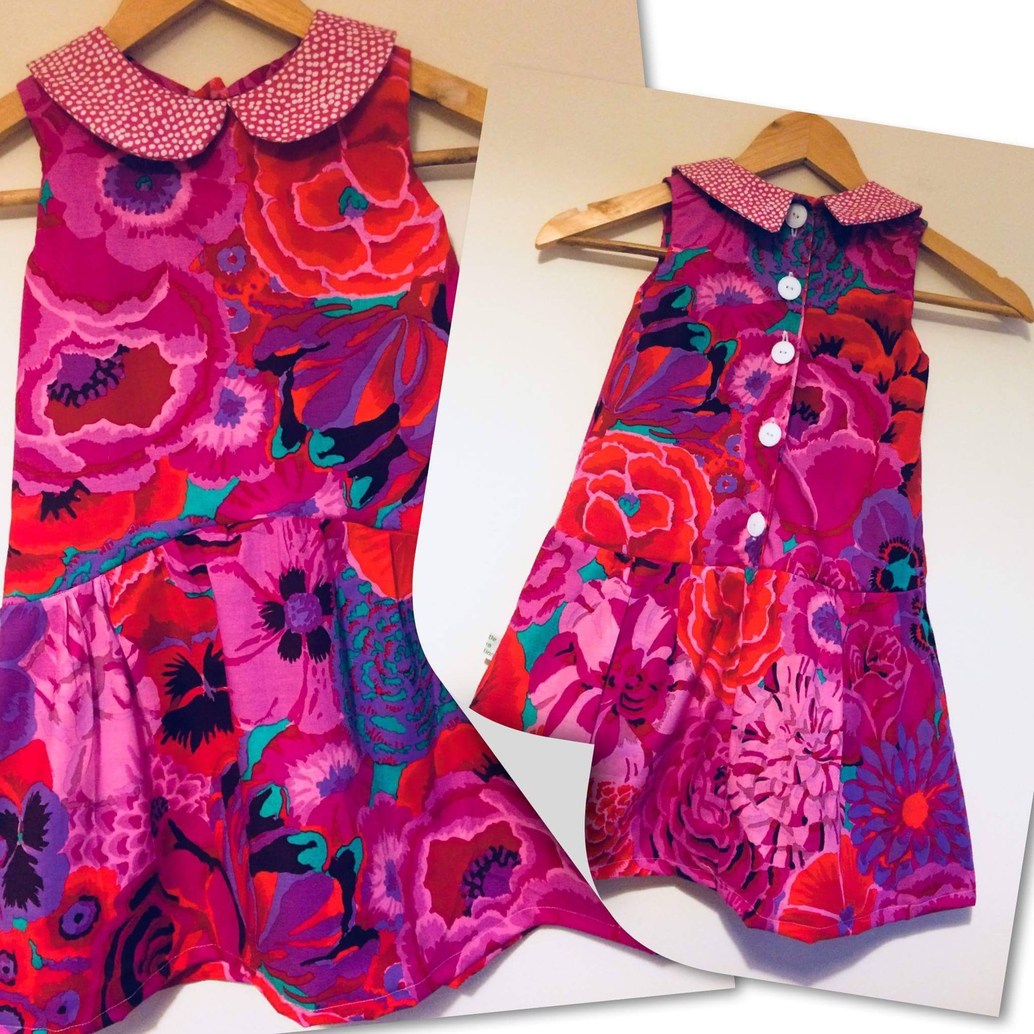I can't resist these large florals and deep saturated colors for little garments! Darling!