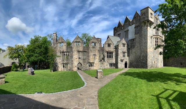 Donegal Castle. On the left are very well preserved ruins, and on the right, the tower which has been restored.