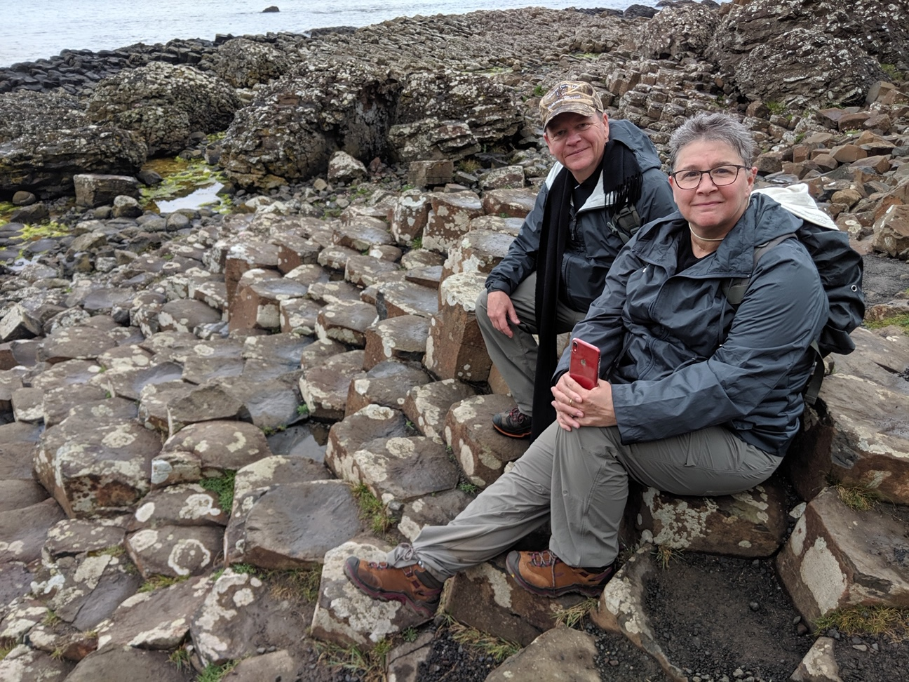 Jeff and Sue at Giant's Causeway. I have wanted to see it for a very long time. It was a long hard hike, cold and rainy. The stones were wet and slippery. I was not able to walk very far out (but I REALLY wanted to).