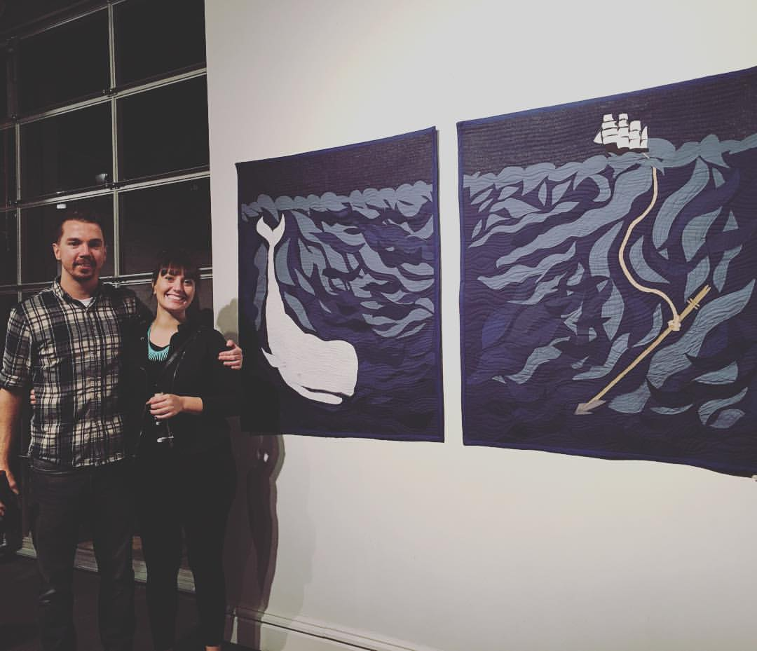 Grateful that my friend Eric insisted on a photo because it's the only shot I have of the quilts installed in the show!