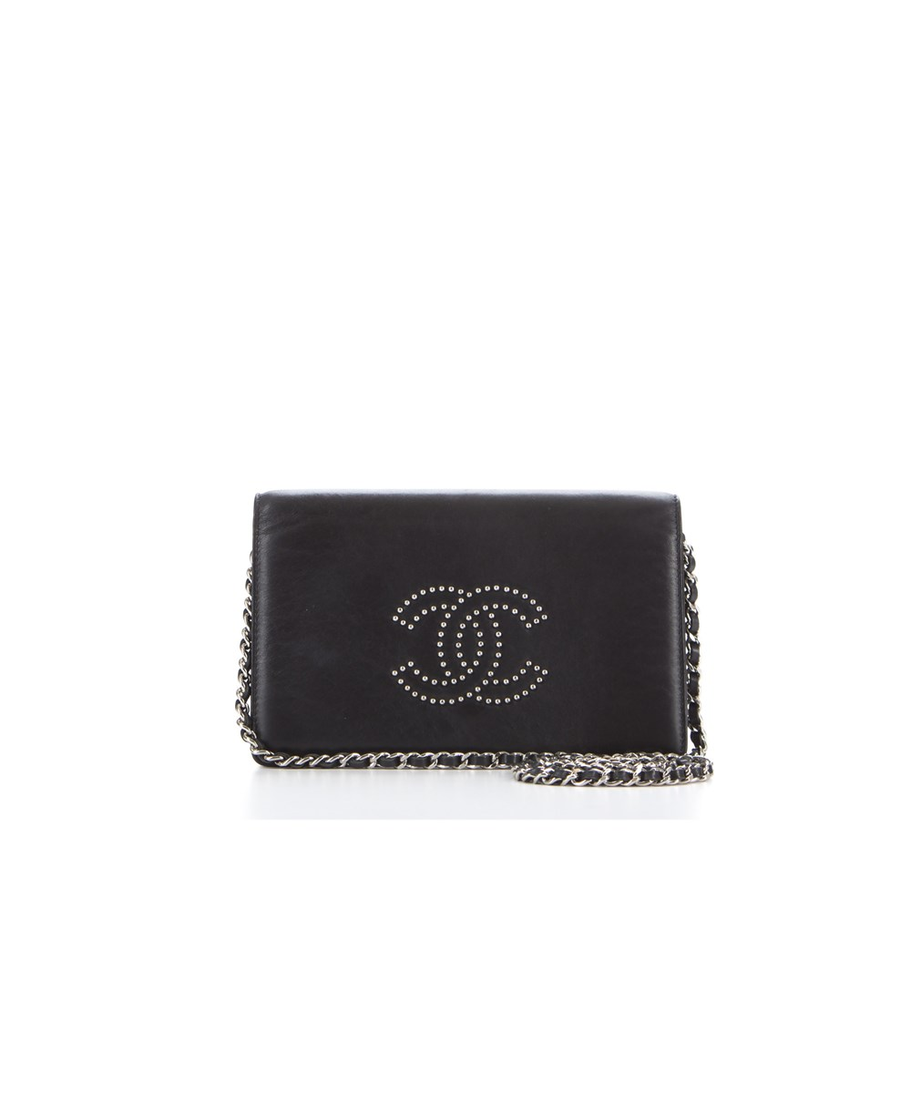 Chanel - Studded Calfskin WOC   Black/Silver