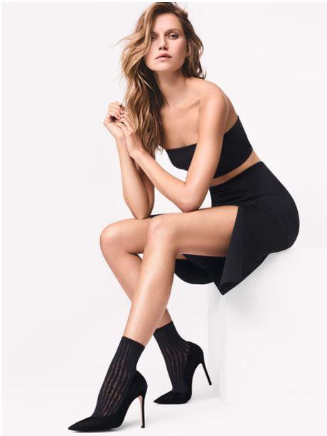 Wolford Strips Socks   Black