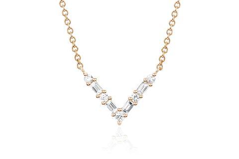 EF Collection Diamond Baguette Chevron Necklace   Gold