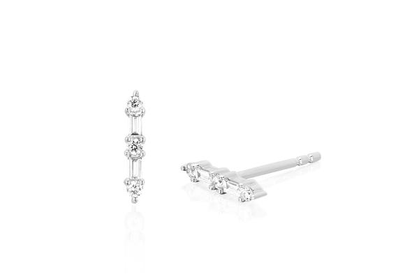 EF Collection Diamond and Prong Stud   Silver