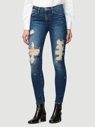 Frame Le Skinny Raw Edge Destructed   Dark Denim