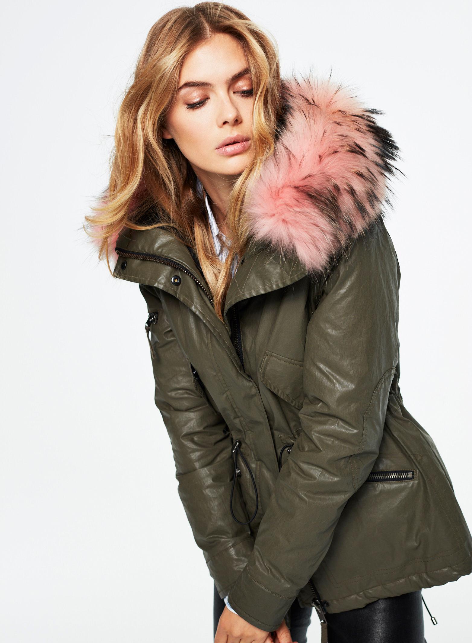 Sam Hudson Jacket with Fur   Olive/Pink