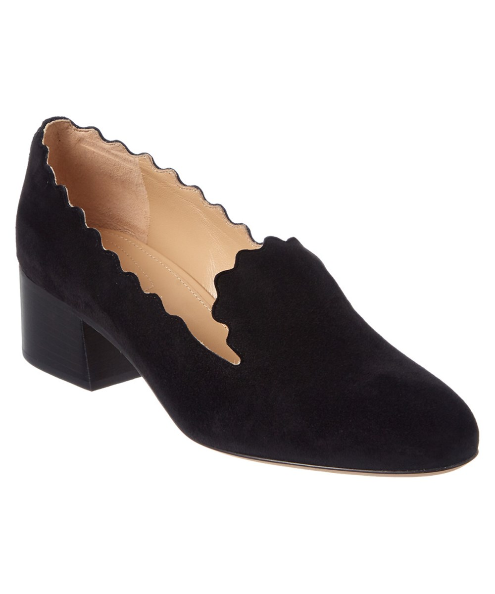 Chloe Scalloped Loafer   Black