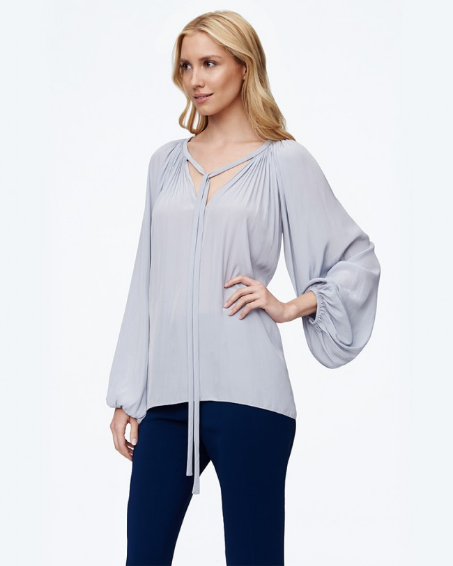 Ramy Brook Paris Long Sleeve Top   Silver