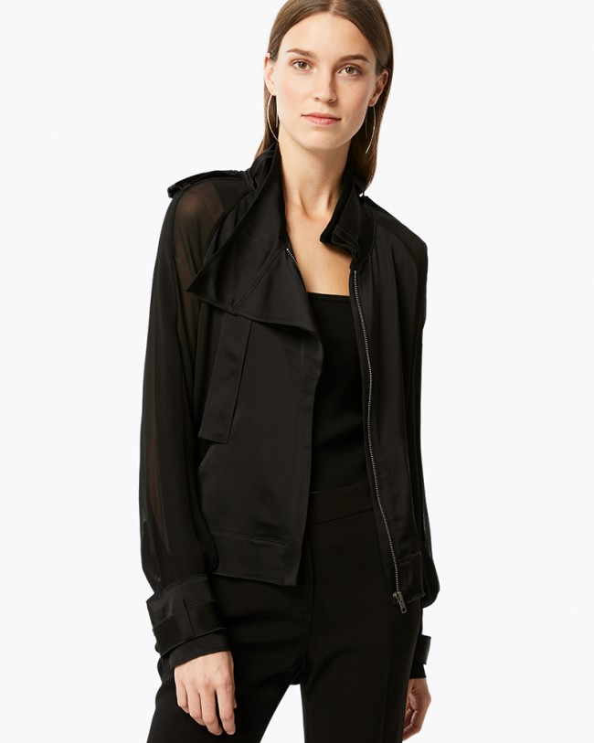 Ramy Brook Cali Drapey Jacket (open)   Black