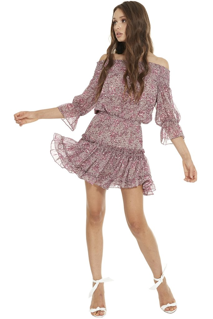 MISA Castellar Off Shoulder Dress   Multi