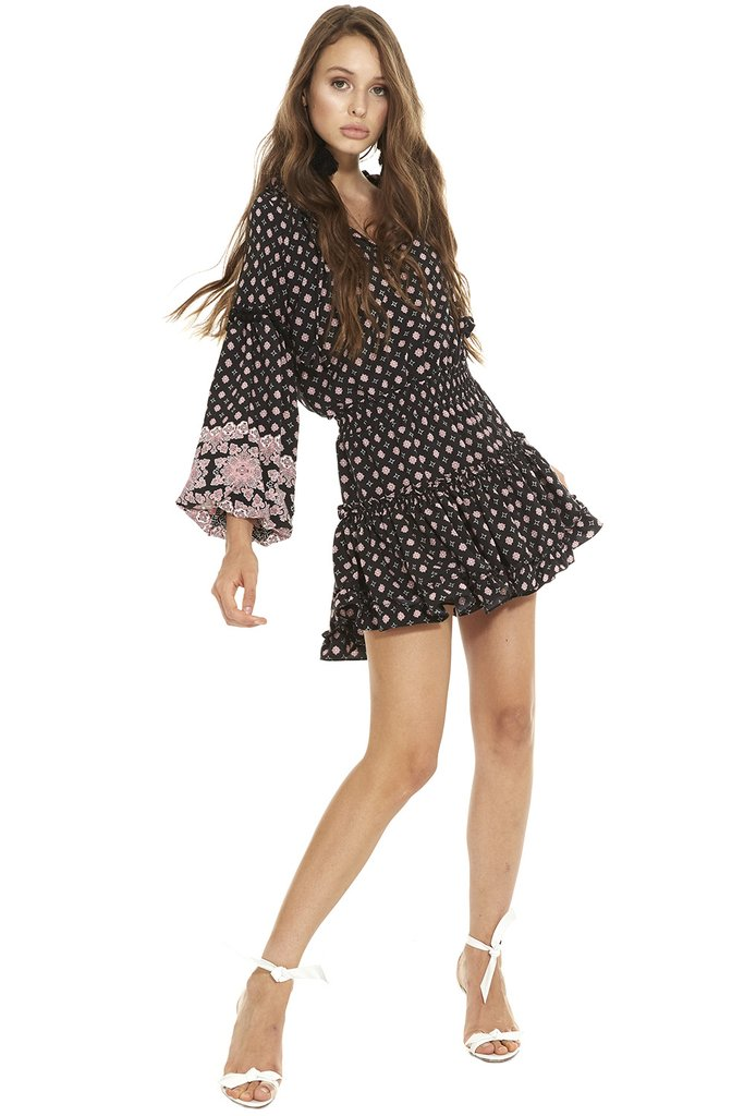 MISA Aurora Long Sleeve Dress   Black Multi