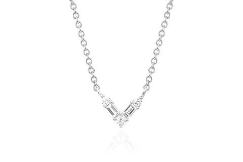 EF Collection Baguette Diamond Chevron Necklace   Silver