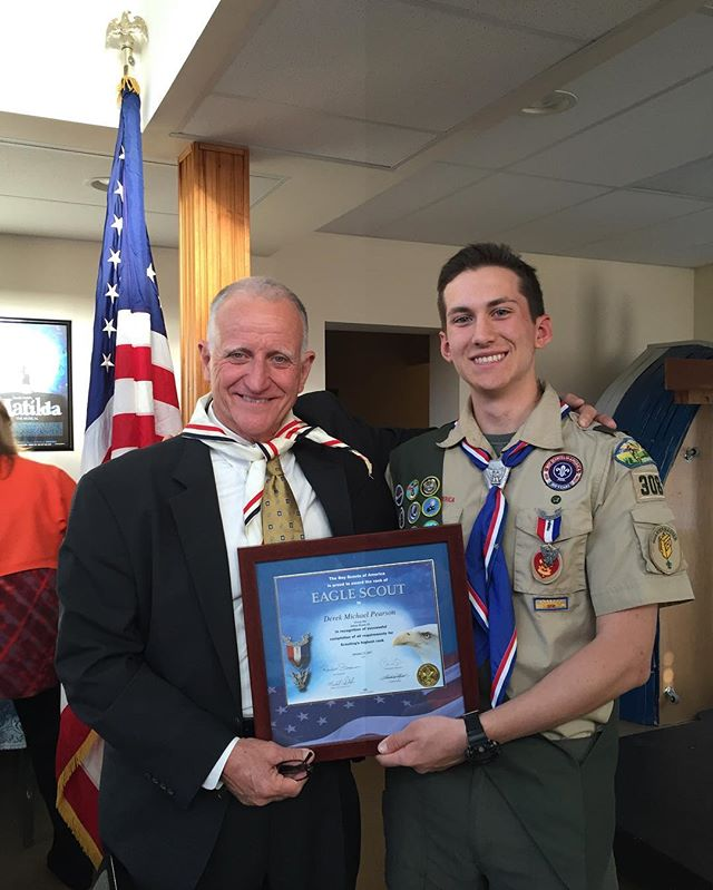 We dedicate this #WayfarerWednesday to camper/counselor Derek Pearson! Derek received his Eagle in scouting this past weekend. Jim Bob was thrilled to speak at the ceremony and was able to wear his Eagle Scout neckerchief which he received 50 years ago this month! We are so proud of you, Derek, and all of your accomplishments.  #EagleScout #BoyScouts #campwayfarer