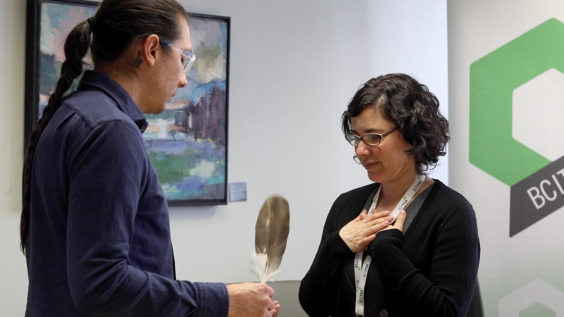 Andrew Judge shares a smudging ceremony with Kyla Epstein.