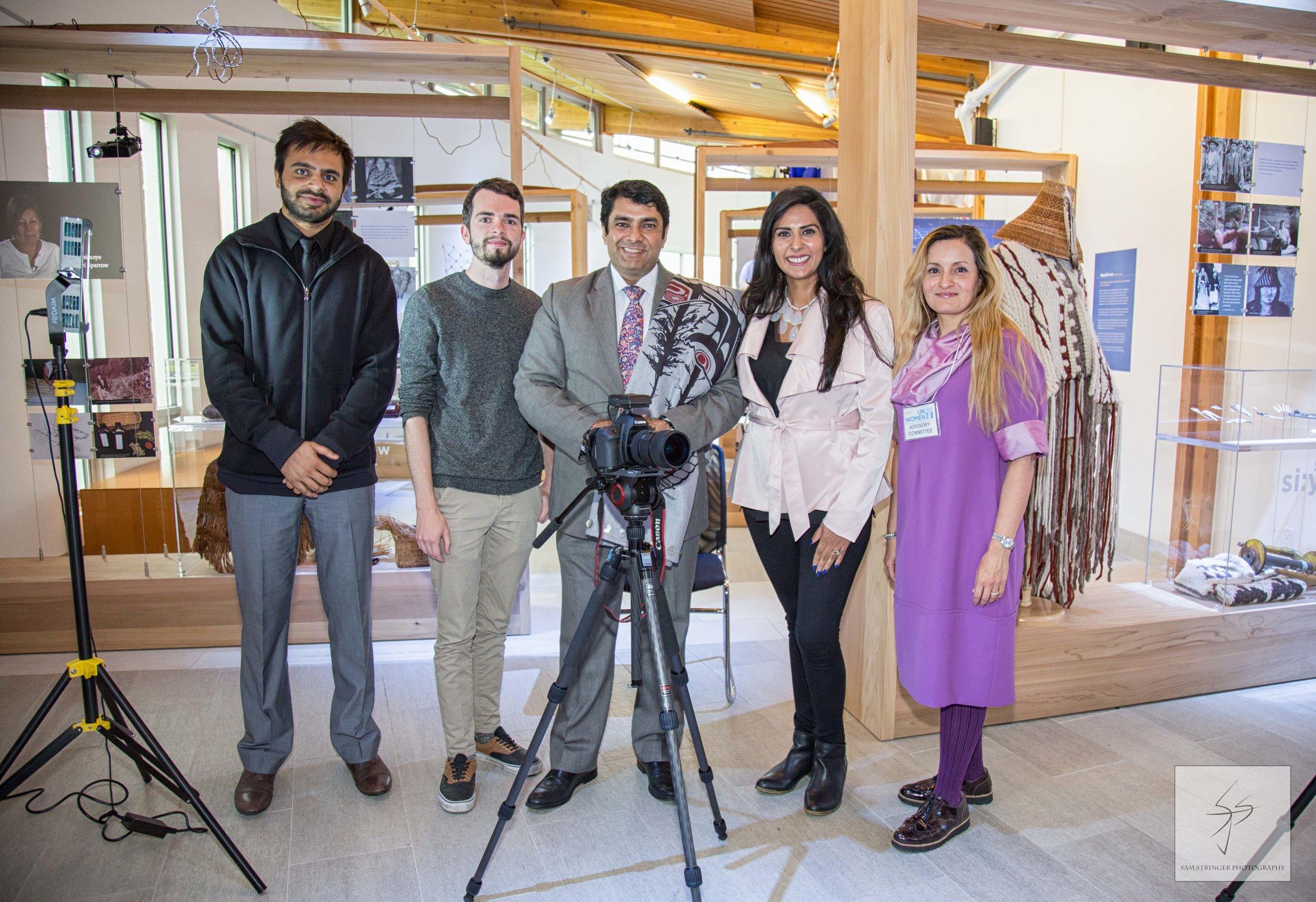 The KharéCom production team poses with Ravi Karkara.