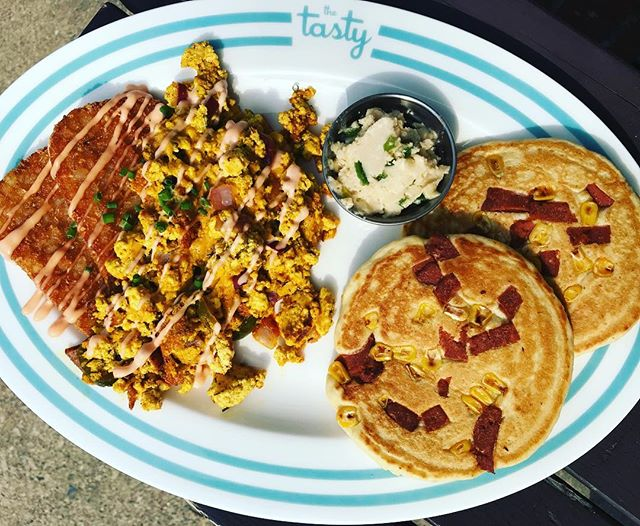 WEEKEND SPECIAL!! . . We knew we had to go all out this weekend since there's so much going on in Philadelphia. The Broad Street run!  @earthcrisisofficial at the church!  So, we present to you: . Hot cakes deluxe platter!  Corn and bacon hot cakes (served with jalapeño maple butter) alongside 2 golden fried hash browns and a scramble with cheddar, jalapeño and red onion topped with spicy mayo. $12- starting at 9 AM both Saturday and Sunday!