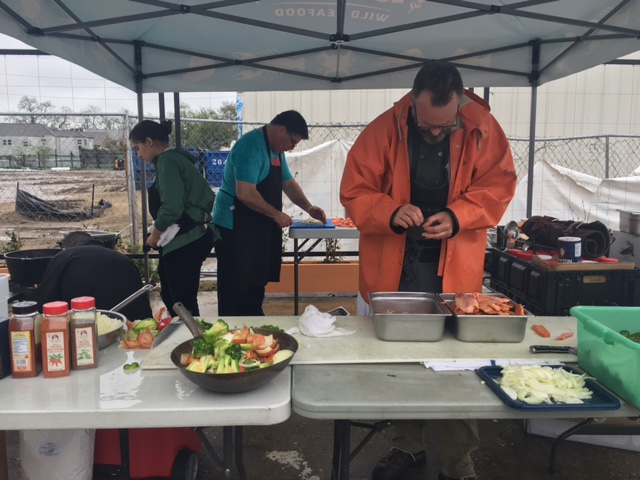 Carmo, Brennan's and other restaurants teamed up in the rain to serve attendees lunch.
