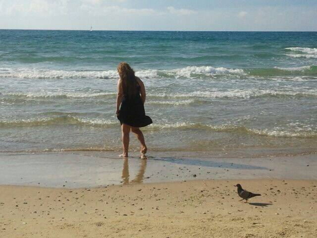 """Me, walking on the beach by Yaffa. I like this picture, because it is about clarity."""