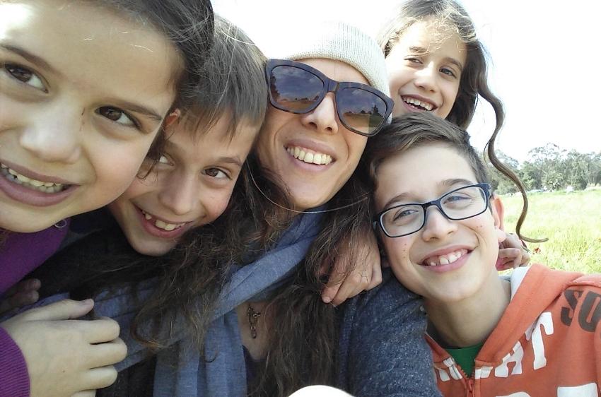 Rachel, with the children