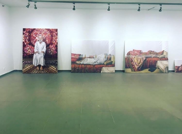 Installing the exhibition  Venus Palestina , by Fatima Abu Roomi, Umm el Fahem Gallery, 2017