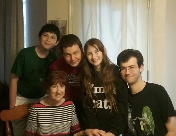 """Photo with my grandchildren in Texas"
